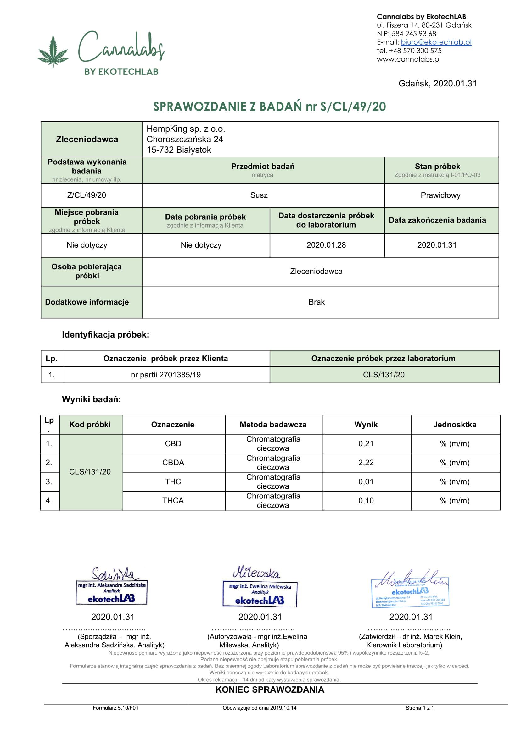 Certyfikat - SUSZ CBD+ 40g